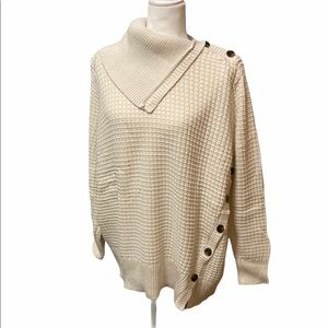 Woman Within Ivory Button Detail Cowl Neck Sweater